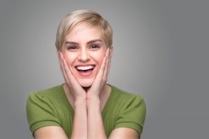 Smiling woman in good oral health and strong immune system